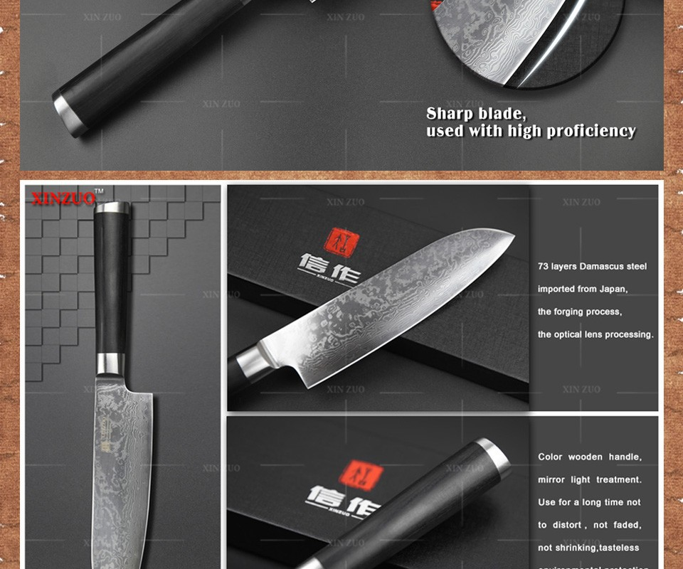 "Buy XINZUO 7""  inch Japanese VG10 Damascus steel kitchen knives Japanese chef knives santoku knife color wood handle free shipping cheap"
