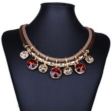Brand Design Gold-plated Geometric Round pendants New hot sell fashion Chunky necklace statement jewelry for women XL6220