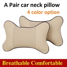2pcs/lot car neck pillow car auto headrest pillow space silk cotton car seat cover cushion cover car styling 4 color(China (Mainland))