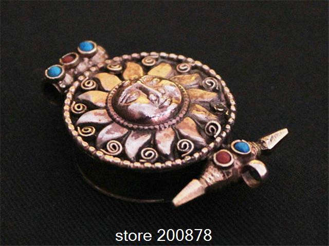 TGB034 Tibetan silver antiqued Sun God Flower Prayer box,27mm,Tibet GAU square man amulet pendant(China (Mainland))