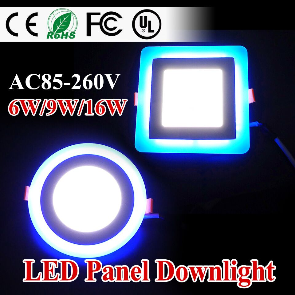 New Design LED Panel Downlight 6W 9W 16W 3 Model Panel Light AC85-265V Recessed Ceiling Lamp Aluminum Painel Lights CE UL ROHS(China (Mainland))