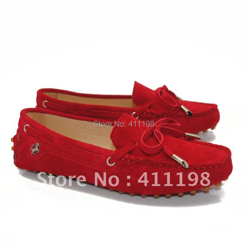 aolover shipping! New arrival Women's string tied leather Loafers lady Shoes Moccasins Red color(China (Mainland))