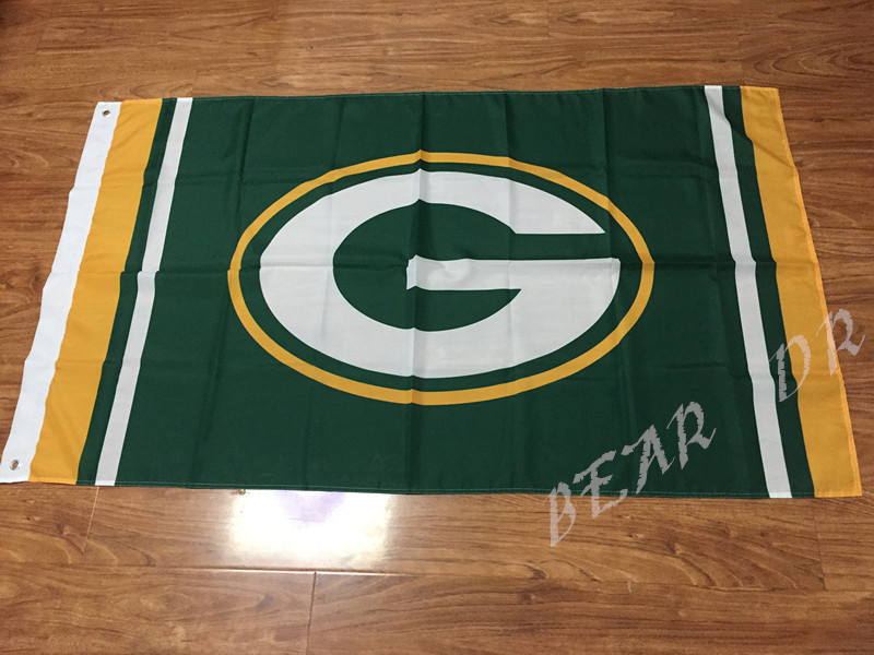 3X5FT NFL Green Bay Packers Flag 3ft x 5ft Polyester Banner 90x150cm white sleeve with 2 Metal Grommets(China (Mainland))