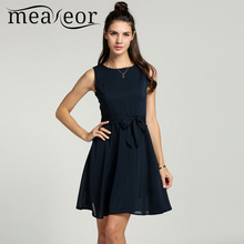 Buy Meaneor Women Chiffon 13 Solid colors Summer Pretty Vestidos Famale elegant Pleated Dress Sleeveless Vest mini Dress Belt for $13.00 in AliExpress store