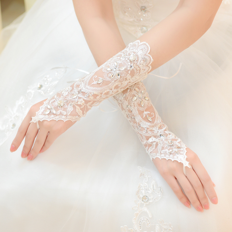 2015 Cheap Free Size White Fingerless Rhinestone Lace Sequins Short Bridal Wedding Gloves With Shipping Wedding