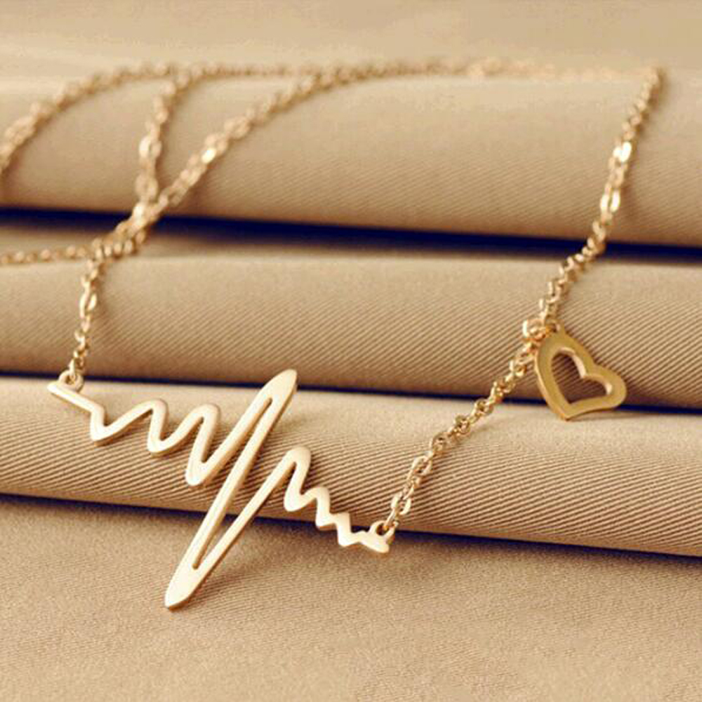 2016 Hot Simple Wave Heart Necklace Chic ECG Heartbeat Gold Plated Pendant Charm Lightning Necklace for Women Vintage Jewelry(China (Mainland))