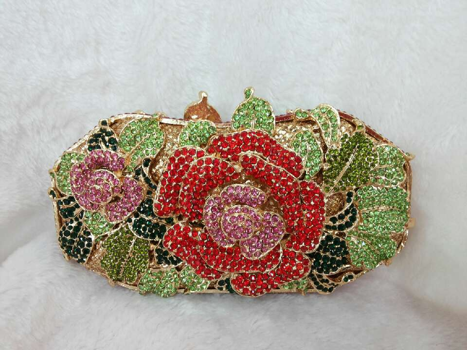 514 Red Crystal Floral Flower Rose Evening Wedding Bridal Party Night Metal purse clutch bag box(China (Mainland))
