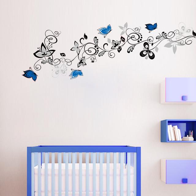 Цветок винограда голубая бабочка DIY стены стикеры домашнего декора Art на обои тв фон декора X016 adesivo де parede