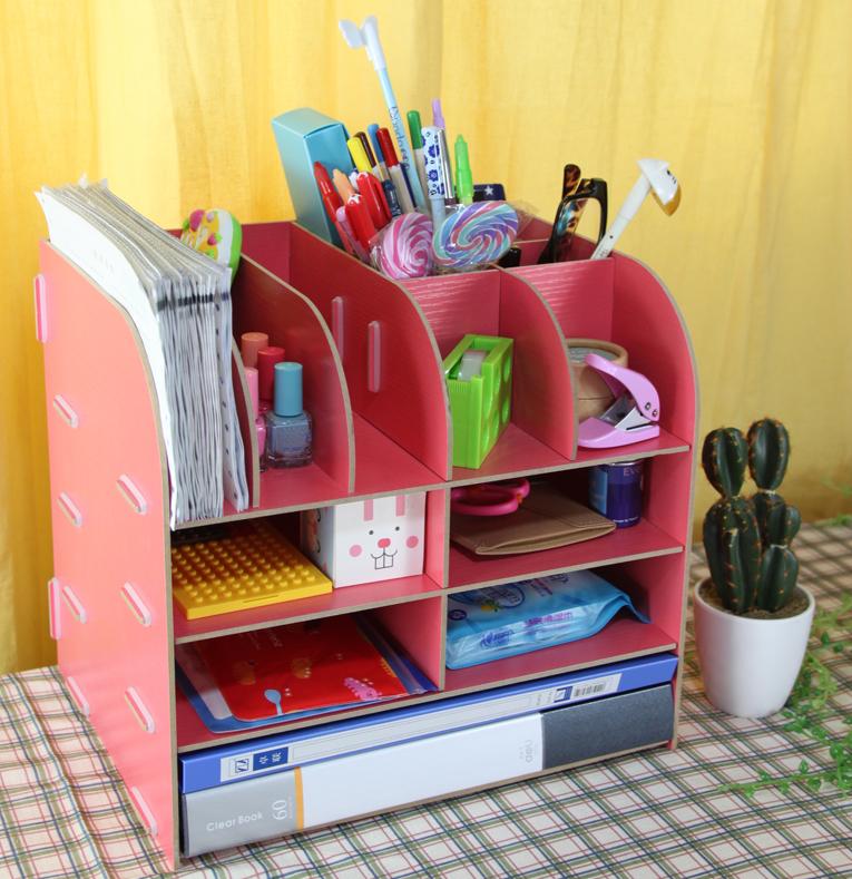 free shipping creative Storage box diy office storage bin products desktop file holder rack office supplier(China (Mainland))