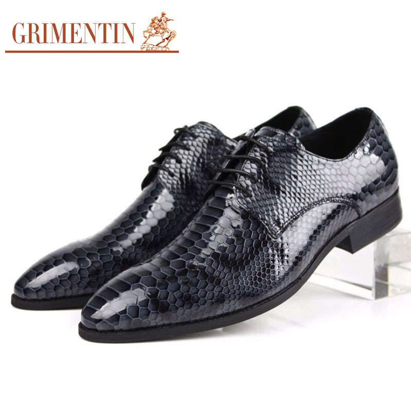 GRIMENTIN fashion luxury shoes men Italian mens casual genuine leather black basic flats wedding party size:6-10 - store