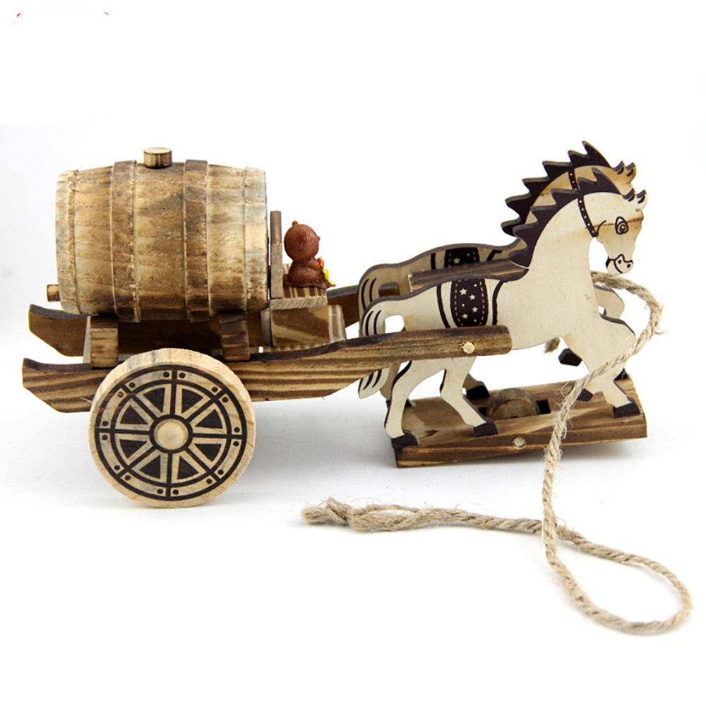 hot selling wooden toys The Horse-Drawn Tram action figure model toy development educational toys for children free shipping(China (Mainland))