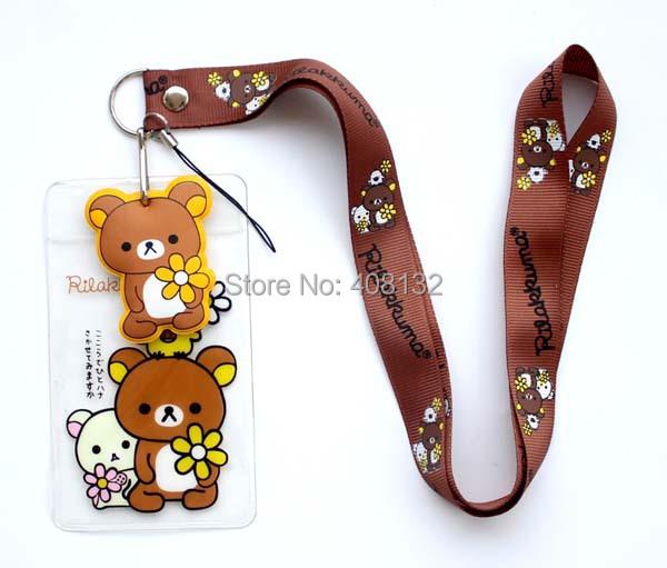 Wholesale ! 50pcs HOT CARTOON Rilakkuma Lanyard Neck Strap ID Card Badge / Mobile P Holder(China (Mainland))