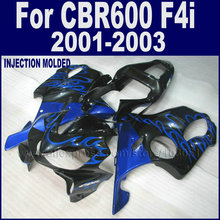 Race Road fairings for Honda CBR 600 F4i fairing kits 2001 2002 2003 CBR 600 F4i 01 02 03 black with blue flame bodyworks parts(China (Mainland))