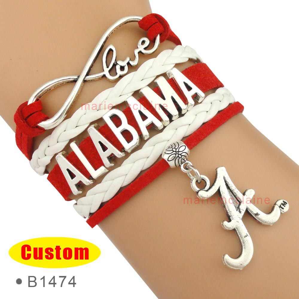 (10 Pieces/Lot) Infinity Love Alabama Bracelet Roll Tide Team Bracelet Red White - Custom Any Themes - Drop Shipping(China (Mainland))