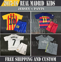 Free shipping  2015 Soccer Jerseys Real Madrid james messi Kids RONALDO Away Gray Real Madrid Kids 14 15 Boys Sets Youth Kit.