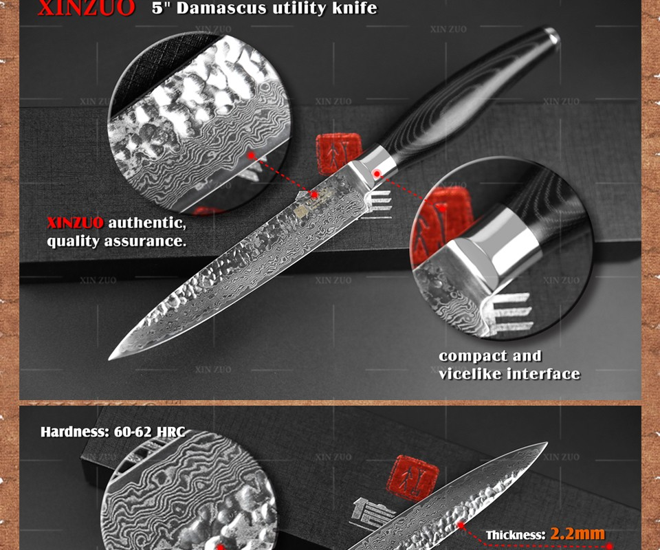 Buy XINZUO 5 Multi-purpose knife Damascus kitchen knives utility cutter kitchen tool damascus steel utility knife FREE SHIPPING cheap
