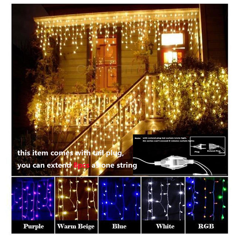 96L 3.5m Droop 0.3-0.5m curtain icicle string lights 220V christmas led string Lights Garden Xmas Wedding Party + extend plug(China (Mainland))
