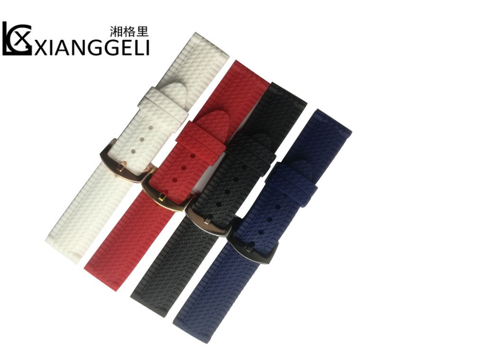 XiangGeLi Mens watchband top brand luxury sport wrist band 24mm watch band strap for Casios - Silicone Rubber replacement(China (Mainland))