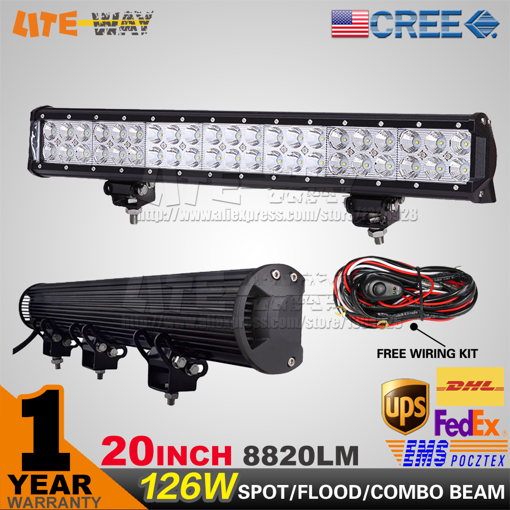 20 INCH 126W CREE LED LIGHT BAR, FOR OFF ROAD 4x4 USE ,LED DRIVING LIGHT BAR CAMPING ATV UTE<br><br>Aliexpress