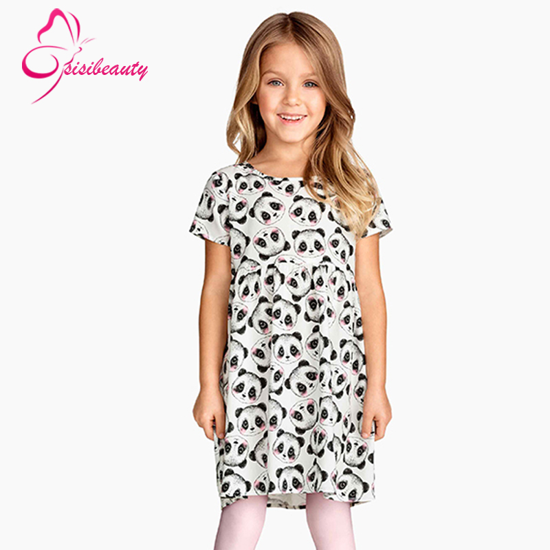 Casual Dress 2015 Summer Style Kids Dress Panda Animal Decoration Princess Clothing Short Sleeve Cotton Girl Dress 5<br><br>Aliexpress