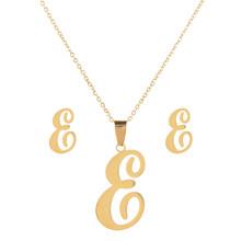 LUBINGSHINE יוקרה 26 אותיות נירוסטה זהב צבע שרשרת עגילי נשים Alfabet ראשוני כלה חתונה תכשיטי סטים(China)