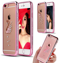 For IPhone 6 6S 6Plus Bling Crystal Rhinestone Diamond Swan Peacock Case for iphone SE 5s Soft Clear TPU Shell Back Coque Cover