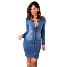 Sexy Long Sleeved Cutout Back Denim Dress Denim Blue color Women Summer Denim Jean Dress V-Neck Hip Package Pencil Dresses