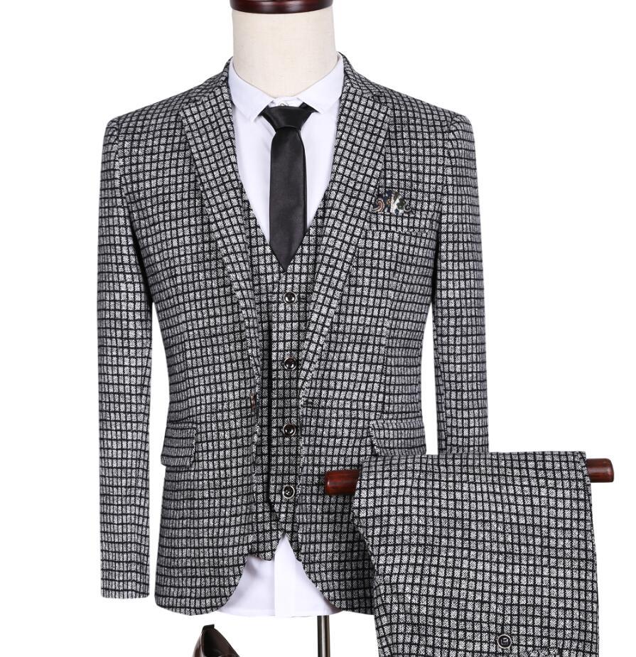 3 Piece 2016 Brand Plaid Style Suits Men Blazers Slim Fit Jacket+Pants+Vest Bridegroom Wedding Prom Formal Male Tuxedo(China (Mainland))