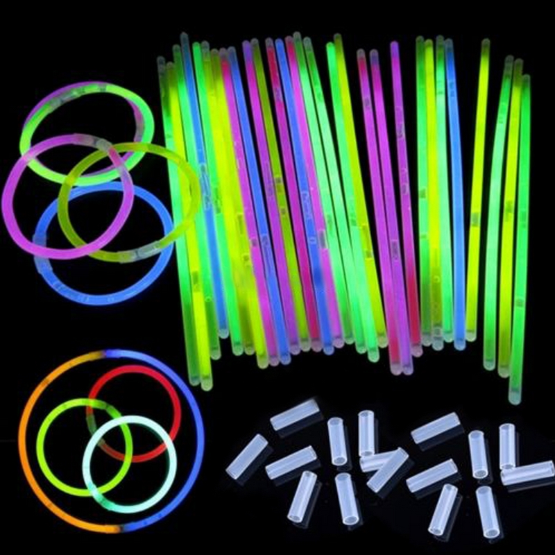 200Pcs/Lot Multi Color Fun Fluorescence Luminous Glow Stick Bracelets Necklaces Party Event Light Xmas Festivities Ceremony Toys(China (Mainland))
