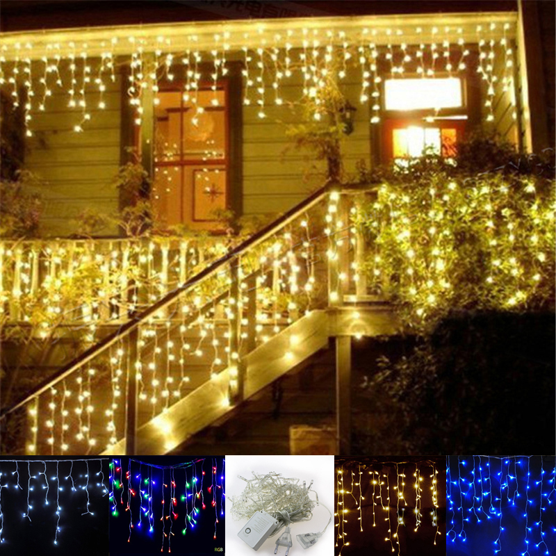 Cheap Christmas Lights Outdoor: 4m *96 Led Christmas lights outdoor garland led icicle curtain String light  Fairy holiday home,Lighting