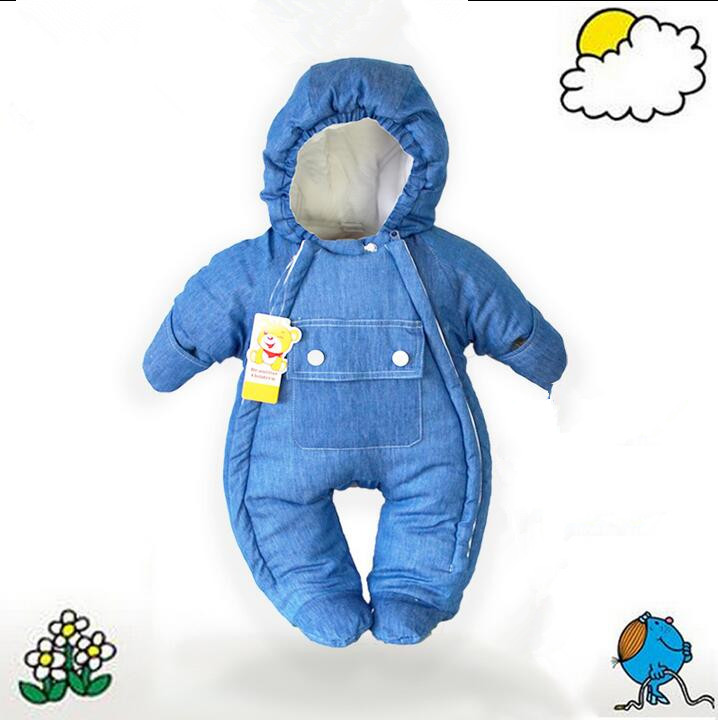 Baby Boys Girl Warm clothing Infant Winter coral fleece cotton down Thicken Soft denim Rompers Newborn  Outerwear Coat Jumpsuit<br><br>Aliexpress