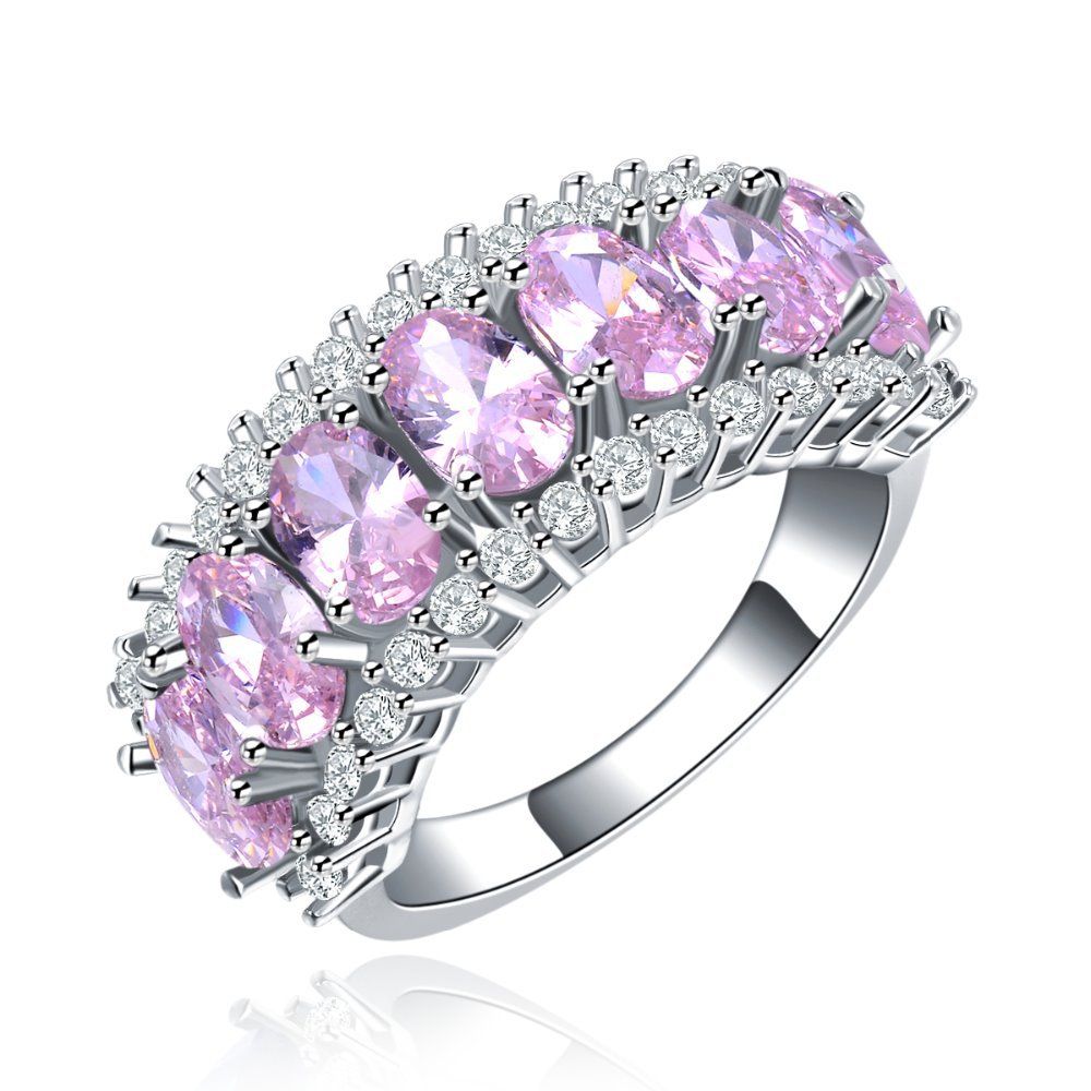 wholesale Cocktail party Rings For women luxury White gold plated engagement wedding ring CZ diamond jewelry bague bijoux MYR133(China (Mainland))