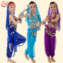 New Handmade Children Belly Dance Costumes Kids Belly Dancing Girls Bollywood Indian Performance Cloth Whole Set 6 Colors