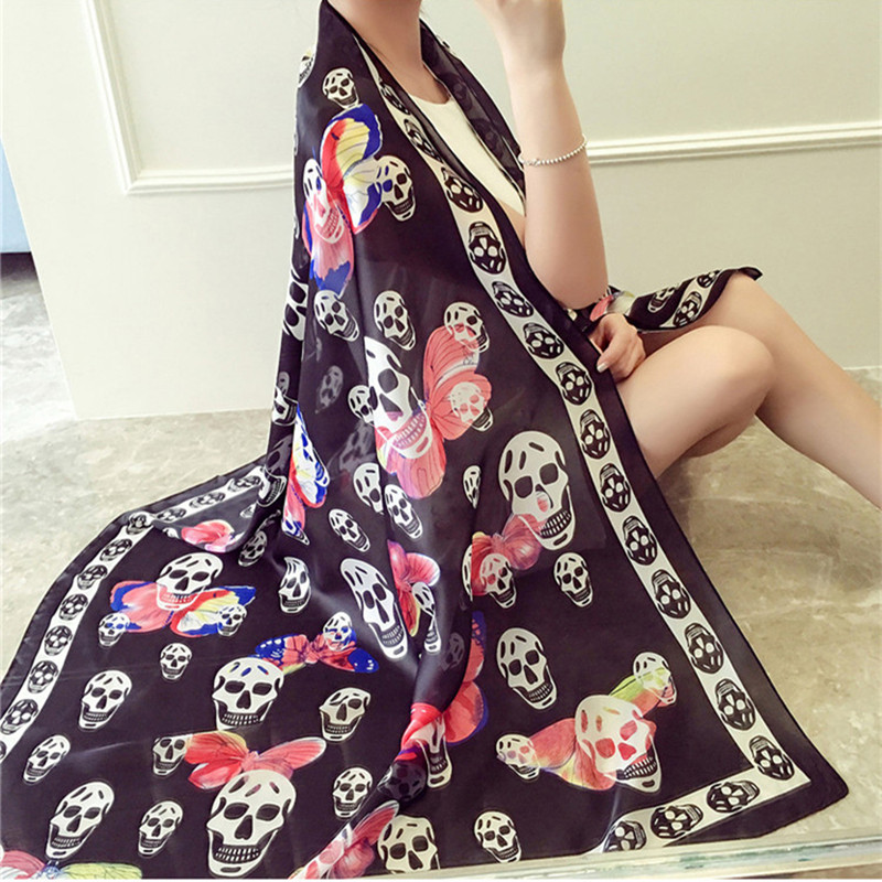 New Women Silk Scarves and Beach Shawl Fashion Lady Skull and butterfly Scarf Echarpe Luxurious Wrap of Plus Size SC2898(China (Mainland))