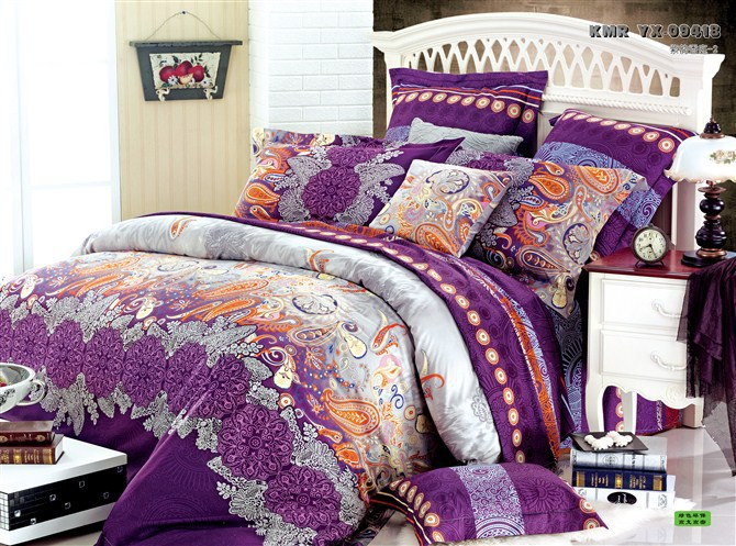Luxury Comforter Duvet Cover Orange Purple Red Yellow