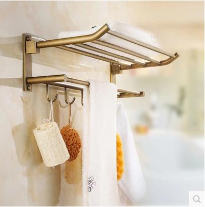 European Antique Bathroom Towel Rack Brass Finished Towel Rail/ Towel Bar Shelf Bathroom Accessories 5 Hooks Wall Mounted Ua29(China (Mainland))