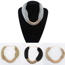 New 2015 Hot Pendant Necklace Women Jewelry Trends Statement Fashion Net Cloth Necklaces Metal Pendants For Gift Party Wedding(China (Mainland))