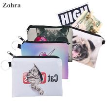 Zohra Cat Pug Animal Digital Printing Coin Purse Women Bag Wallets Girl Coin Purse Men Wallet Carteira Monederos porte monnaie(China (Mainland))