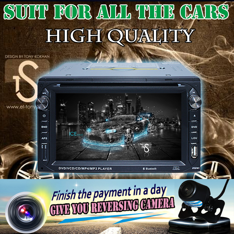 """2 Din Car Radio 6.2"""" in dash touch screen DVD Player no gps FM TV automotivo dvd bluetooth audio car stereo with backup camera(China (Mainland))"""
