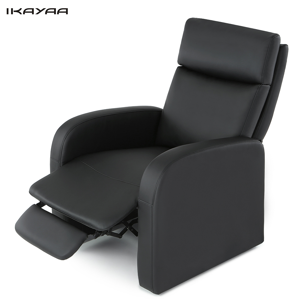 IKAYAA Modern Padded Recliner Bounded Leather Glider Chair Push Back Mechnism 130KG Load Capacity Sofa Living Room Furniture(China (Mainland))