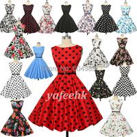 Grace Karin Women Summer Floral Print Retro Vintage 50s Polka Dot Casual Party Rockabilly Dress plus size Vestidos Femininos