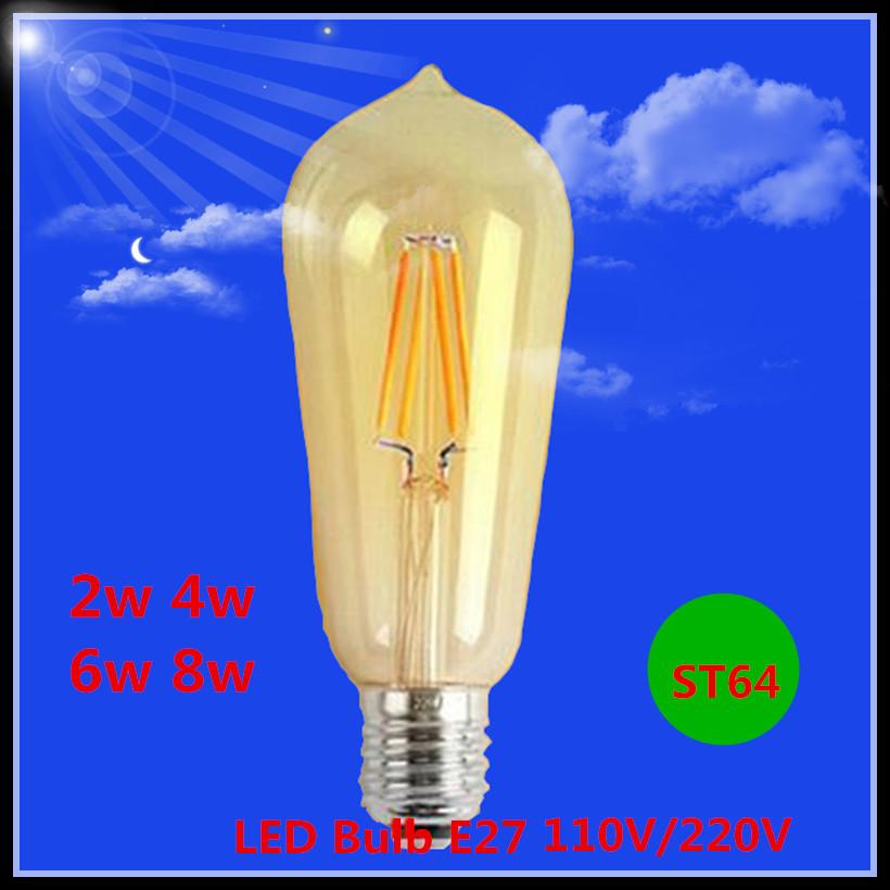 2015 NEW Design ST64 LED filament Edison bulb 2W 4W 6W 8W E27 110V 220V led light lamp 110LM/W White/Warm White free shipping(China (Mainland))