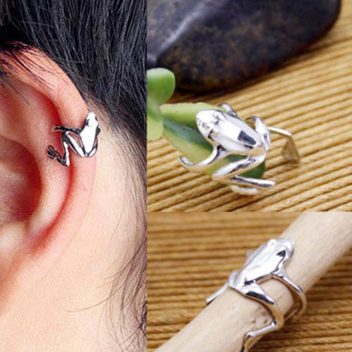 1 Piece Unisex Punk Silver Mini Frog Ear Clips Earrings  High Quality Wholesale(China (Mainland))