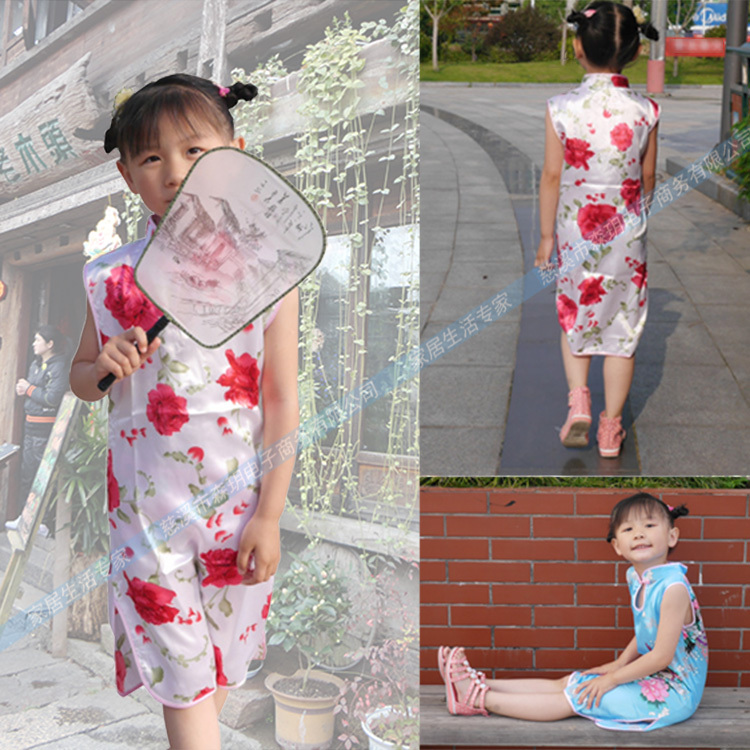 beautiful hot classic children kid baby girl dress Chinese peacock cheongsam dress/Qipao clothes girls dresses for party BX024(China (Mainland))