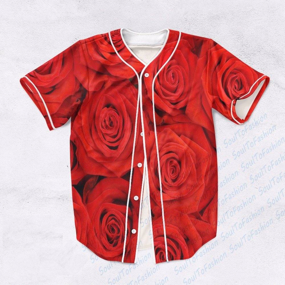 2 Colors Real USA Size Red Roses Turquoise Roses Custom made Fashion 3D Sublimation Print Baseball Jersey Plus Size(China (Mainland))
