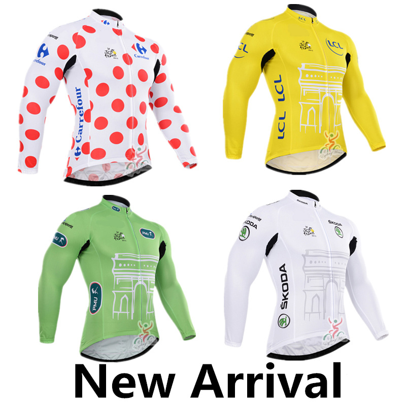 New Cycling jersey long sleeves white red yellow green Ropa ciclismo Mtb bike sportswear maillot only cycling clothing(China (Mainland))