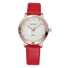 Fashion Women Watch Luxury Red Leather Sexy Lady Rhineston Gold Watches High Quality Brand SKONE Clock Relogio Feminino Gifts