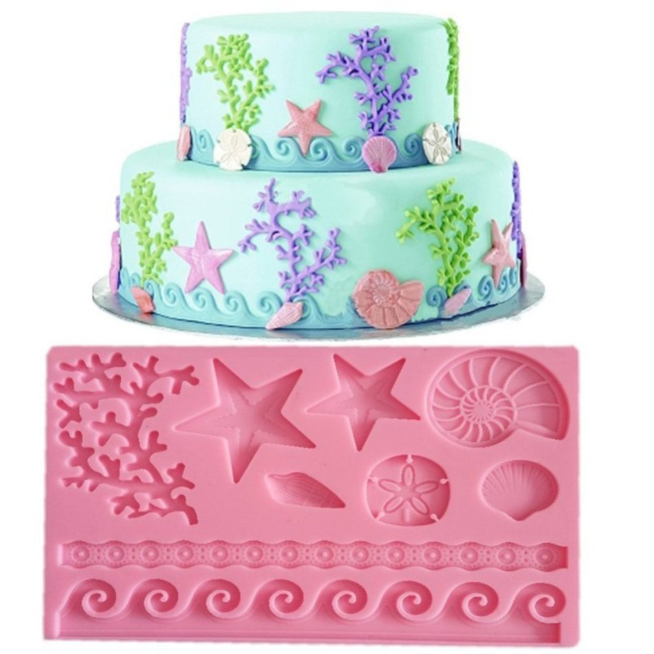 3D DIY Coral Starfish Shell Lace Fondant and Gum Paste Silicone Mold Bakeware Pastry Decorating Cake Mould Tools(China (Mainland))