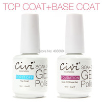 Top Coat + UV Base Coat Foundation for UV Gel Gel Polish Top it off 30 day long lasting Civi Nail Gel