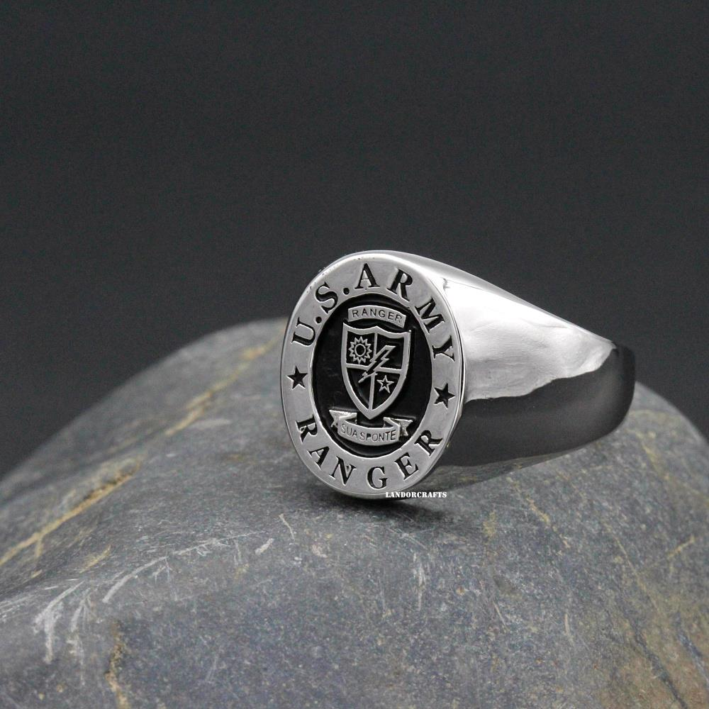 Vintage US Army Ranger USA Military 925 Sterling Silver Ring customized rings(China (Mainland))